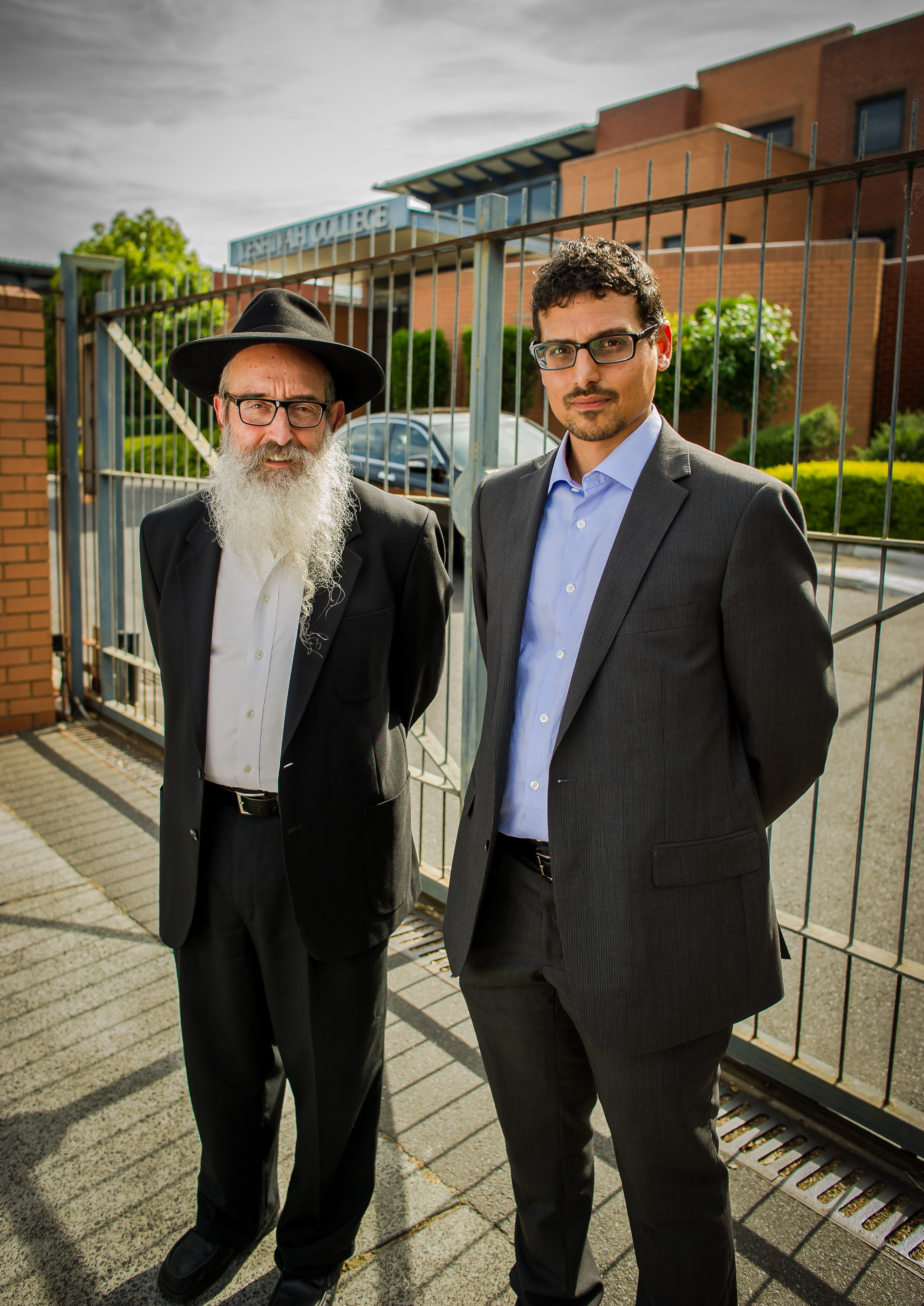 COS Manny Waks, Zeph Waks outside Yeshiva College-9666
