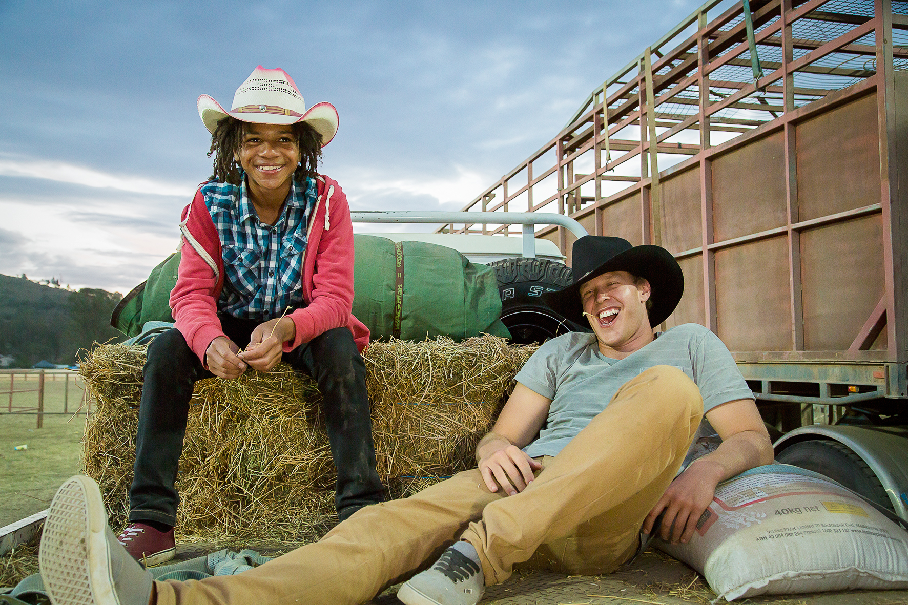 BW2 Kayne and Kamil on hay truck-