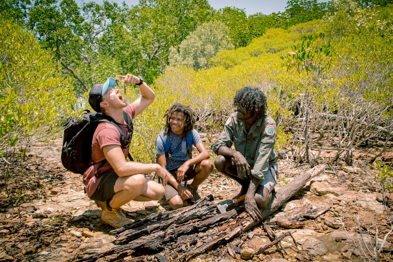 BW3 kayne kamil in bush with indigenous man-9682