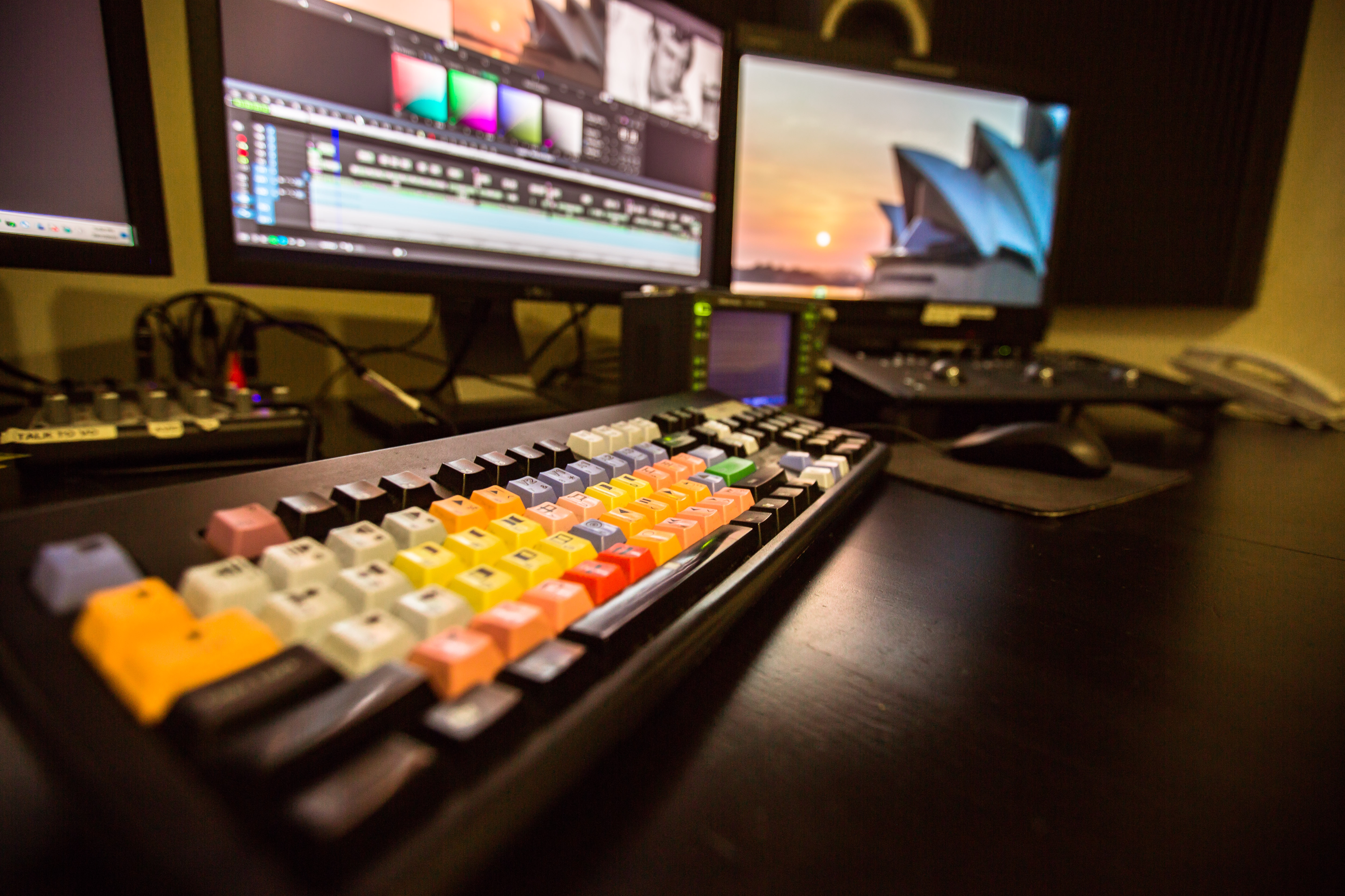 Edit suite keyboard and desk low angle 2-a-